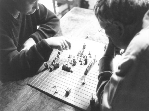 Guy Debord and Alice Becker-Ho playing Le jeu de la guerre