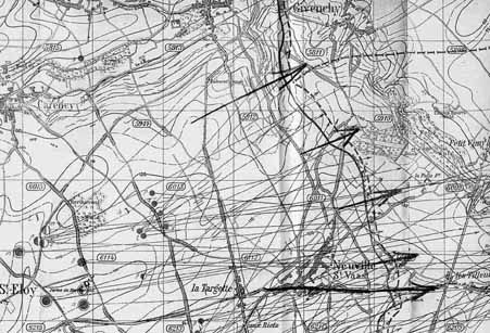 German artiller intelligence map Enemy batteries known with certainty to be firing and spotted 15 to 22 March 1917 Vimy