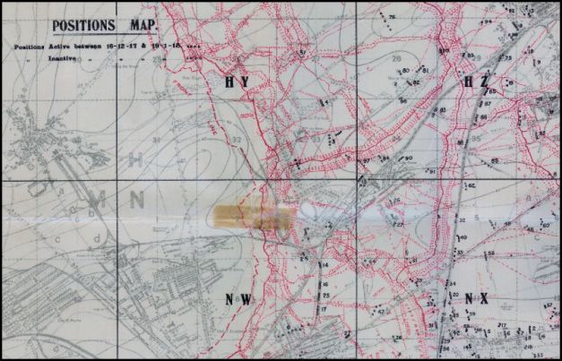 Positions map. December 1917-January 1918