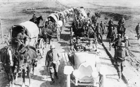 German transport column on Albert-Bapaume road, March 1918 (IWM)