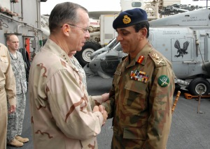 Admiral Mullen greets General Kayani, August 2008