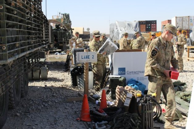 Soldiers inventory Stryker combat vehicle for retrograde, Kandahar, March 2013 (Sharonda Pearson)