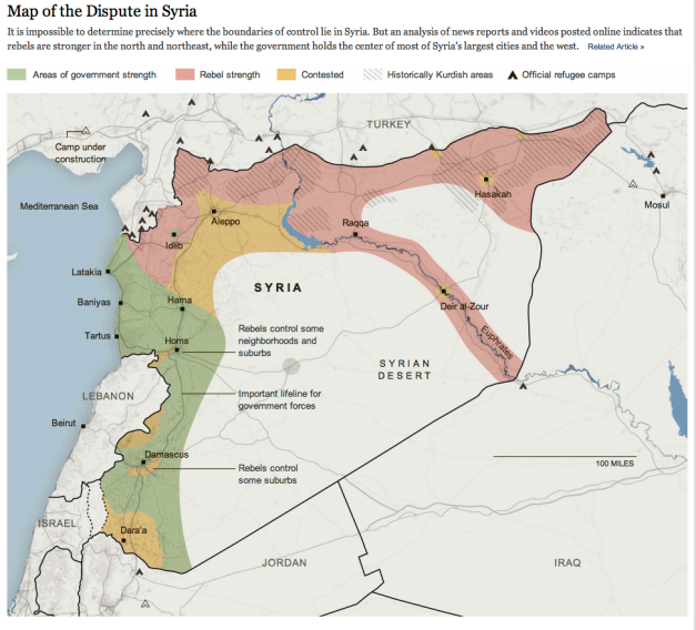 Map of the dispute in Syria NYT