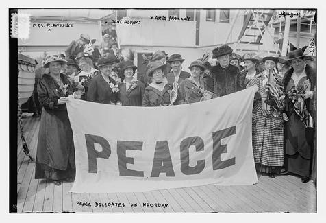 Jane Addams and delegates to the Hague conference in 1915