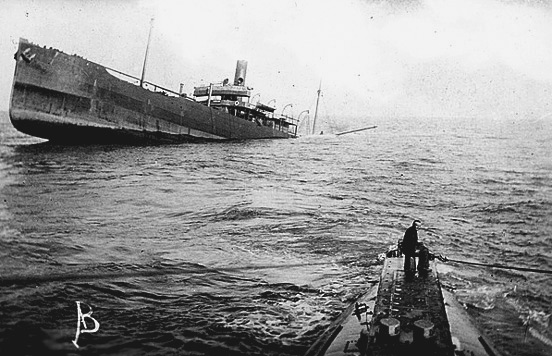 Tramp steamer sinking after U-boat attack
