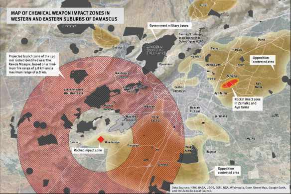 Chemical weapon impact zones, Ghoutta (HRW)