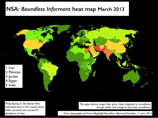 Boundless Informant March 2013 heat map