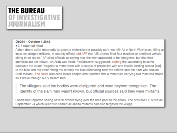 Bureau of Investigative Journalism 1 October 2012 strike