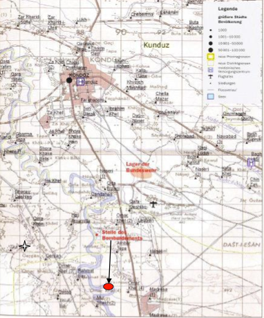 Camp Kunduz and site of air strike