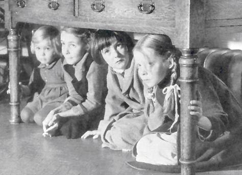 Air raid drill in children's home WW2