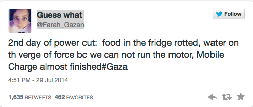 Gaza tweet power cut
