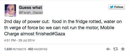 Gaza tweet power cut