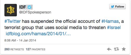 IDF tweet re Hamas Twitter account