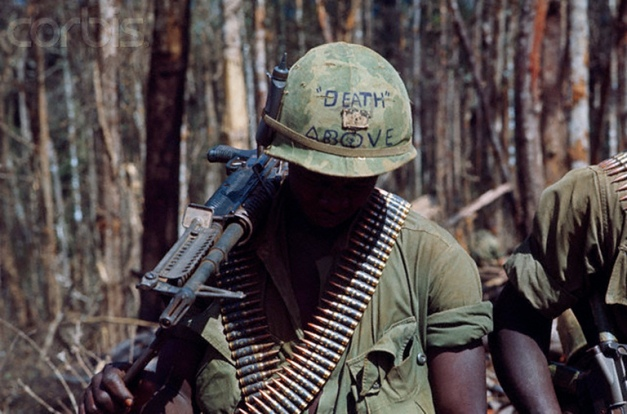 US Soldier Wearing Helmet with Message