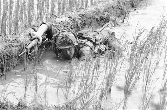 Soldier in paddy field An Thi S Vietnam- Jan 1966Skinner
