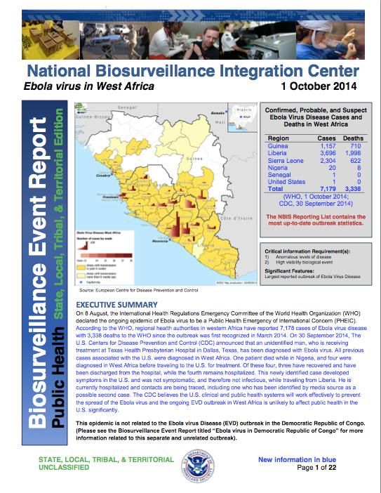 National Biosurveillance EBOLA DHS 1 Oct 2014
