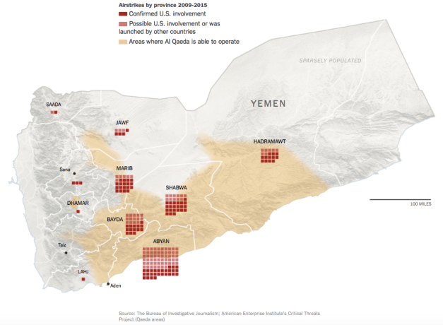 US air strikes in Yemen 2009-15