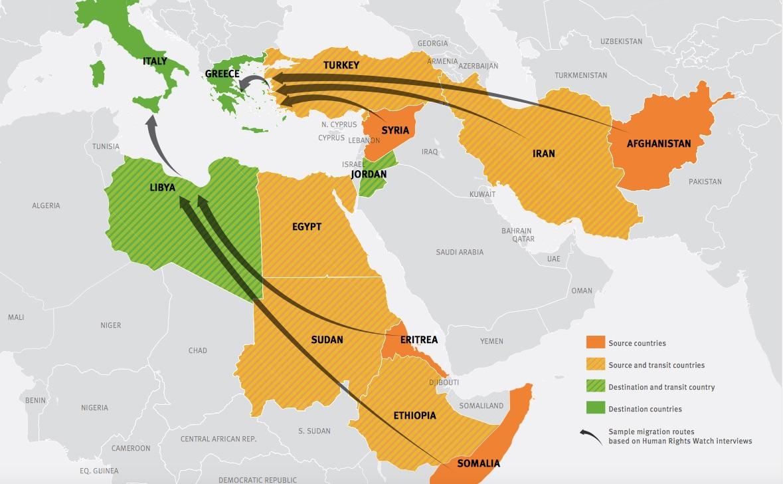 Mediterranean migration crisis (HRW) MAP