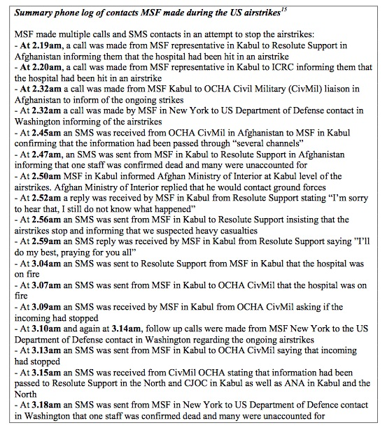 MSF Kunduz phone log