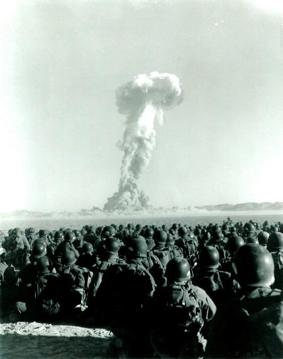 Troops watching atomic test, Yucca Flat, November 1951