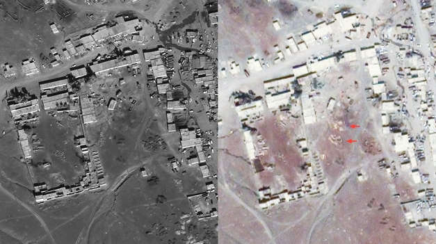 Dhatta Khel before and after drone strike (Forensic Architecture)