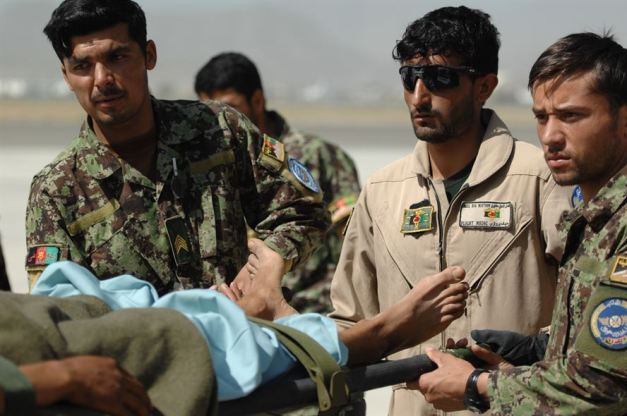 Injured ANA soldier lifted from Afghan Air Force C-27A