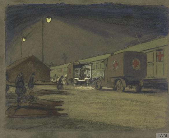 olive-mudie-cooke-unloading-ambulance-train-at-etaples-by-night