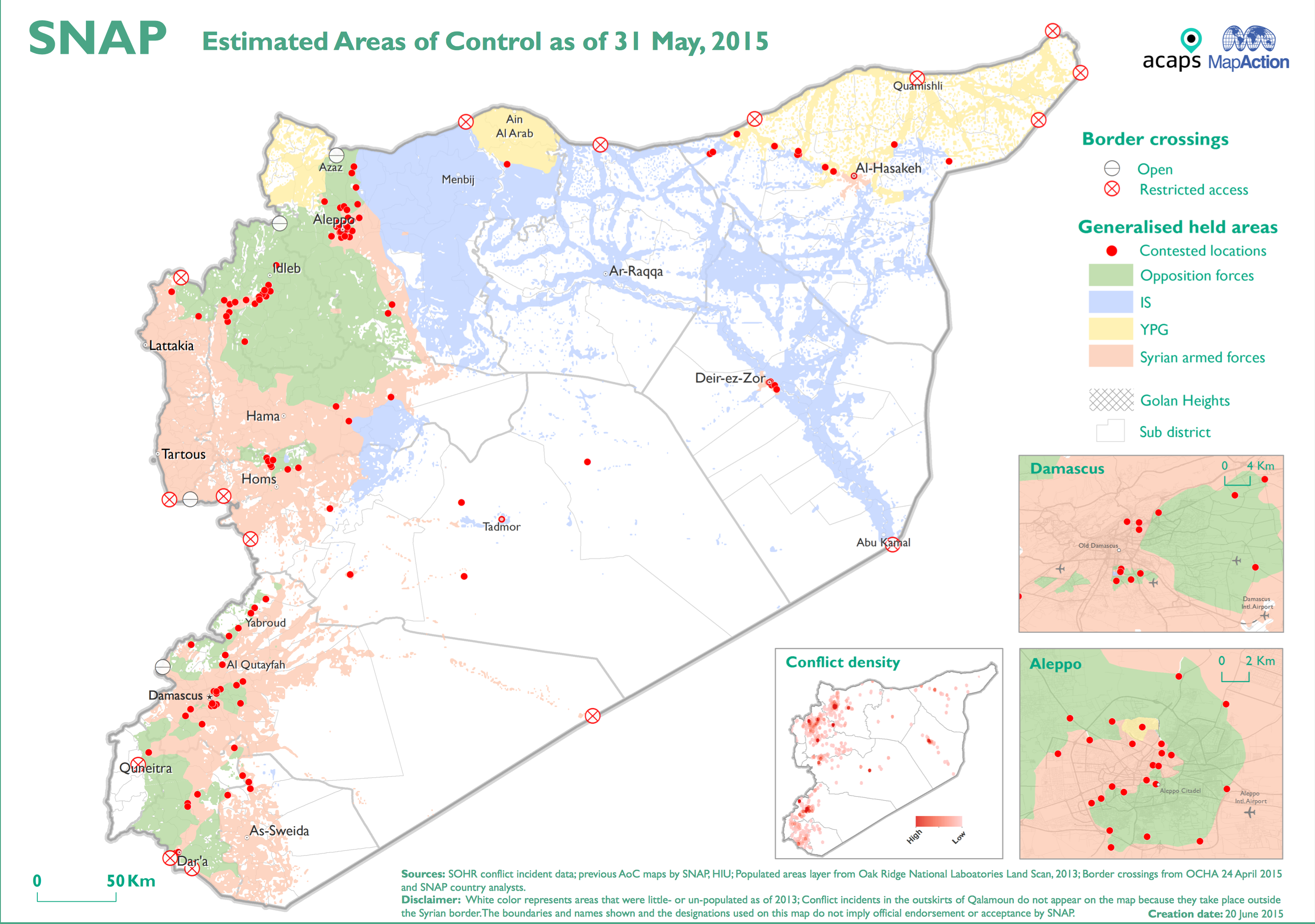 from december 2012 until it closed in june 2015 acaps syria needs analysis project snap also provided a series of maps plotting the changing areas of